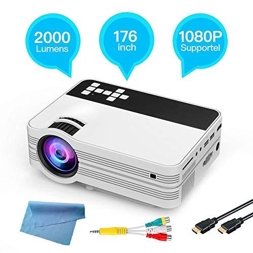 Videoprojektor Full HD 1920x1080 Bluetooth 4.0 Heimprojektor 4500 Lumen für Android 6.0 WiFi Drahtloser LED-TV-Videobeamer Eingebauter 1x 8R 2W leistungsstarker Lautsprecher mit Fernbedienung(EU) - 1.7 G Speicher