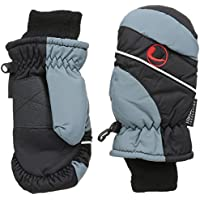 Ultrasport Kid's Functional Thinsulate Mittens - Kids Snow Gloves Waterproof with Velcro Closure and Fleece Cuffs - Unisex Kids Snow Mittens in Black & Grey