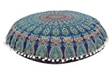 """Mandala Pillow Case 32"""", Large Floor Cushions, Indian Pouf, Decorative Throw, Round Ottoman, Boho Pillow Shams, Pom Pom Outdoor Cushion Cover With Insert"""