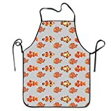 flys Clown Fish Cooking Chef Kitchen Aprons with Adjustable Bib Black