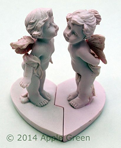 Used, Pair of Angel Cherubs Kissing Figurines on a Heart for sale  Delivered anywhere in UK