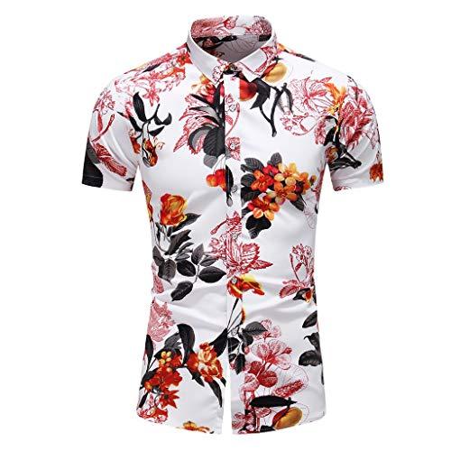 Aoogo Herren Drucken Hawaii Hemd Partyhemd Blumenhemd Casual Lose Revers Kurze Ärmel T-Shirt