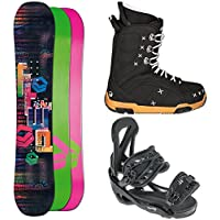 SNOWBOARD SET FTWO GIPSY 152 + ELFGEN TEAM SMO GIRL BINDUNG BLACK M + BOOTS