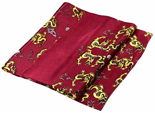 Bees Knees Fashion Bufanda - Dragón De Oro Rojo Oscuro Impreso Doble Capa Larga Bufanda De Seda Pura