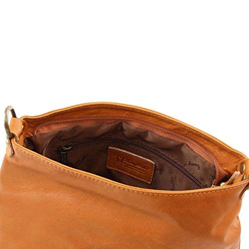 Tuscany Leather - TL Bag - Borsa morbida a tracolla con nappa Blu scuro - TL141223/107 Cognac