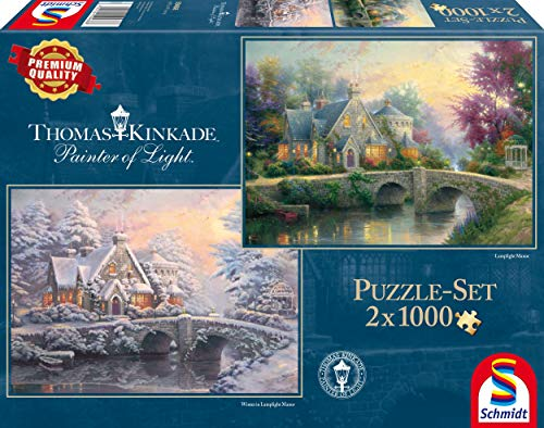Schmidt Spiele 59468-Thomas Kinkade, Invierno en Lamplight Manour, 2x 1000Piezas, clásica Puzzle