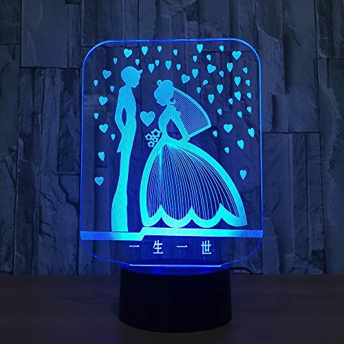 igam 3D Lampe LED Bunte Romantische 3D Nachtlicht Hochzeitsgesellschaft Atmosphäre Lampe Als Geschenk des Geliebten, Touch ()