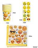 Kompanion 81-Teiliges Party-Set Emoji Kindergeburtstag Partydekoration - Pappteller, Tassen, Servietten, Tischdecke und Bonus Emoji Aufkleber, Geburtstagsfeier Zubehör für 20 Kinder Vergleich