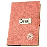 Lirener A5 Größe PU-Leder Notebook Mit Blume, Geheimnis ausgekleidet Tagebuch Zeitschriften mit passwortkodiertem Schloss, Journal Schreiben Notebook Notepad mit Zahlenschloss, 145x210mm