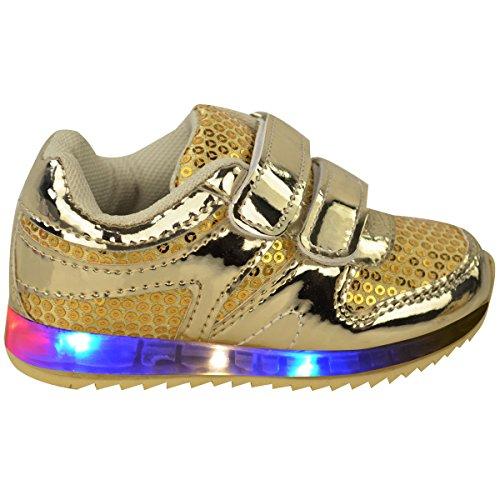 Neue Mädchen-kinder Babys LED Beleuchtung Turnschuhe Riemchen Sneakers Kleinkind-schuhe Größe Gold Metallic