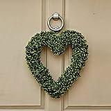Garden Mile® grande artificiale 40cm lusso bosso topiaria cuore porta corona Home Decor commemorativa per tomba porta corona appeso ornamento da giardino