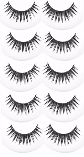 FOK Soft Natural Black Thick Long False Eyelashes Makeup Extension Pack Of 5 Pair Fake Eyelashes