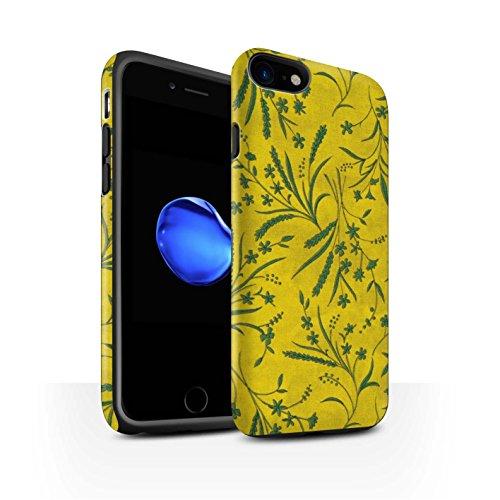 STUFF4 Matte Harten Stoßfest Hülle / Case für Apple iPhone 8 / Blau/Rosa Muster / Weizen Blümchenmuster Kollektion Gelb/Grün