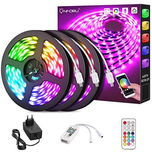 Onforu 15M Alexa LED Strip, Smart WiFi RGB Streifen, LEDs Band Farbwechsel, APP Steuerbar Musik Synchronisiern Selbstklebend 5050 Farbig Lichtband für Zimmer, Party, Kompatibel mit Google Assistant