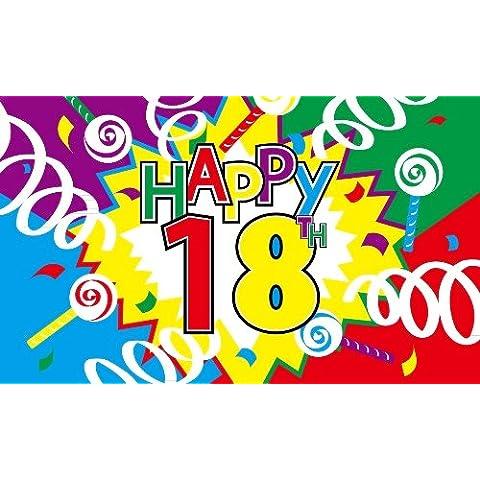 Felice Xviii Compleanno Bandiera Grande - 5' x 7.6cm