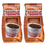 Dunkin' Donuts Hazelnut Ground Coffee (2-Pack), American Imported Roasted Kaffee, 340 Grams (12 Oz.) Per Bag (Available in 1 and 2-Packs)