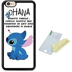 THEcoque Coque Silicone Bumper Souple IPHONE 6 PLUS/6s Plus -Lilo Stitch Ohana Signifie Famille Motif 1 Design Case+ Film de Protection Offert