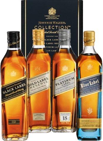 *Johnnie Walker Whisky The Collection Black 12 Jahre, Platinum 18 Jahre, Gold Reserve & Blue Label 4x 0,2 L*