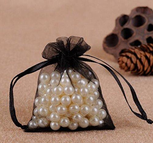 Hi-Smile Organza-Geschenk-Beutel, Beutel mit ca. 25 PC-Zugschnur für Hochzeitsfest - Schwarz