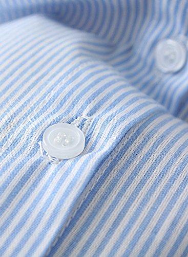 ACHICGIRL Women's Striped Flare Sleeve Button down Shirt blue