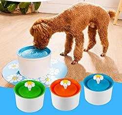 Generic Blue Green Flower Style Electric Pet Water Fountain 1.6L Automatic Dog Cat Drinking Bowl Pet Water Dispenser
