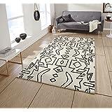 Espectro confeccionadas a mano moderno alfombra wipods 100% fanmai blanco negro estera Grande (varios colores y tamaños), blanco, 150 x 230 cm