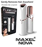 #1: Flawless Women's Wax Finishing Touch Body Face Electric Painless Lipstick Epilator with Battery (FL-002, White and Gold)