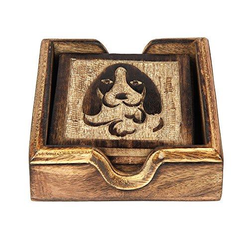 aheli Untersetzer aus Holz Hund geformtes Halter-Set für Drink Holz Bar Untersetzer Tee Kaffee Tasse Tabletop-Drink Set von 4handgefertigt Esszimmerstuhl Home Decor (Design Hund Tee)