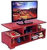 #10: AAROORA TV Table Entertainment Unit Display Storage Cabinet Rack with Decor Shelf (mahagony Finish)