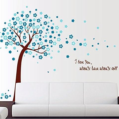 La forme d'arbre avec des fleurs bleues Autocollant mural de PVC à la maison papier peint en vinyle pour la décoration papier peint au salon, à la chambre et à la cuisine les photos d