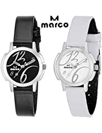 MARCO Elite Combo Ladies 008 Black White Analog Watch - For Women