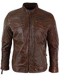 Veste hommes Biker cuir véritable marron clair fermeture éclair délavé timber coupe slim