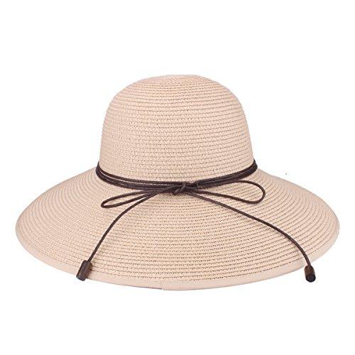 Chapeau floppy été plage soleil chapeaux de paille anti-UV...