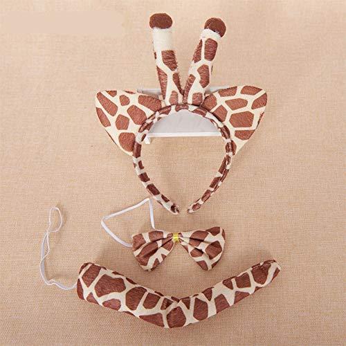 NXINQUBAOHUA Halloween Requisiten Tier Kopfschmuck Leistung Cosplay Anzug Stirnband Schwanz 3 STK,Giraffe