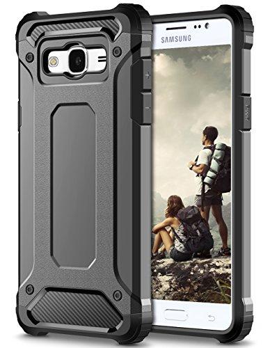 Galaxy J3 2016 Custodia,Grigio Shock-Absorption Rugged Armor e Anti-Scratch Soft Back TPU PC Bumper Protezione Custodia Cover per Samsung J320 Galaxy J3 (6) Smartphone