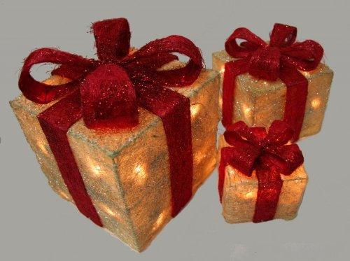 Beleuchtetes Geschenkboxen-Set, 3-tlg, einzeln stellbar - Beleuchtete Geschenkboxen Weihnachten
