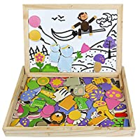 Symiu Wooden Jigsaw Toys Animals 123 Pcs Matching Puzzles Game Gift for Girls Boys Age 3 4 5 6 Years Old to Play