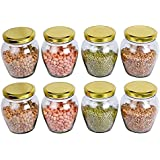 KITCHENQUEEN Glass Matka Shape Jar with Rust-Proof Air Tight Lid Set (500 ml, Clear) -8 Pieces
