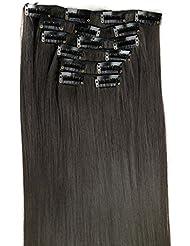 ❤️LILICAT 6 Pcs Pleine Tête Naturel Femmes 16 Clips Synthétique Extensions de Cheveux Droites Belle perruques cospay Classics Vintage Lisseur