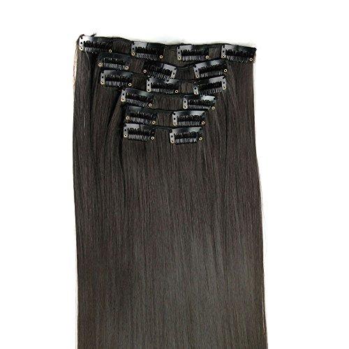 Berrose 6pcs 16 Clips voller Kopf natürliche Frauen synthetische gerade Haarverlängerungen Glattes Haar Perücke