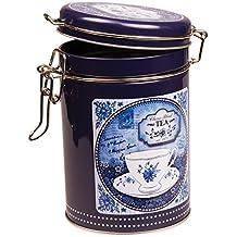 China Blue mezcla de – Classic Retro Estilo Vintage redondo caja metálica de almacenamiento para café