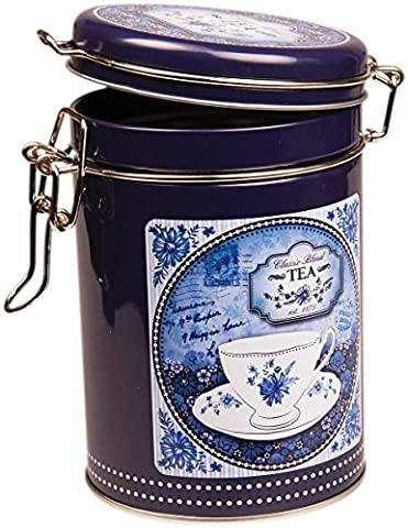 CHINA BLUE - Classic Blend Retro Vintage Style ROUND Coffee Tin / Tea Caddy / Kitchen Storage Tin/Canister - Clip Lid - Blue & White by (Weiße Küche Cannister)
