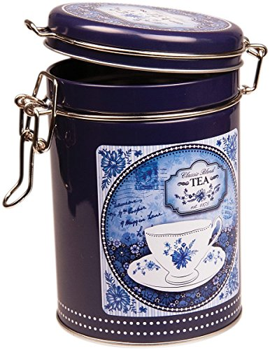 CHINA BLUE - Classic Blend Retro Vintage Style ROUND Coffee Tin / Tea Caddy / Kitchen Storage Tin/Canister - Clip Lid - Blue & White by Buzz Vintage Blue Willow