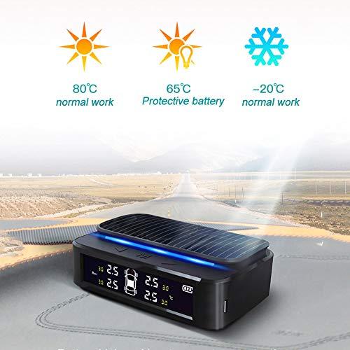 Lionina Solarbetriebener Reifendruckprüfer-Set, 4 Externe Sensor, Auto-Alarm, TPMS, kabellos, wasserdicht, Lange Akku-Laufzeit, Universal-System