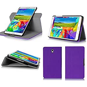Samsung Galaxy Tab S 8.4 4G/LTE - Housse protection UltimKaz Cuir Style violet - Etui coque violet purple tablette tactile Galaxy Tab S Tablet 8,4 pouces - Accessoires pochette cover XEPTIO case