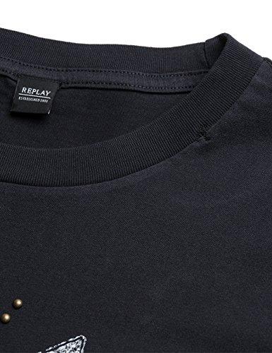 Replay Herren T-Shirt M3371 .000.22432 Schwarz (Nearly Black 99)