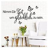 Grandora W5172 Wandtattoo Spruch Nimm Dir Zeit I schwarz (BxH) 100 x 45 cm I Flur Wohnzimmer Aufkleber selbstklebend Wandaufkleber Wandsticker