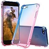HUDDU Silikon Hülle iPhone 8 Plus Handyhülle Gradient Farbe Transparent Schutzhülle 3D Farbverlauf Farbe Case Cover Ultra Dünn 360 Grad TPU Bumper Schale Apple iPhone 7 Plus/8 Plus - Blau Rosa