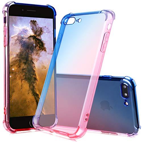 FNBK iPhone 7 Plus Hülle iPhone 8 Plus Cover Gradient Anti Fall TPU Silikon Blau/Pink