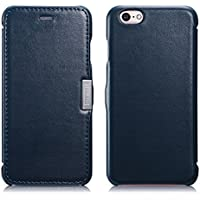 Luxus Tasche für Apple iPhone 6S und iPhone 6 (4.7 Zoll) / Case Außenseite aus Echt-Leder / Innenseite aus Textil / Schutz-Hülle seitlich aufklappbar / ultra-slim Cover / Farbe: Blau
